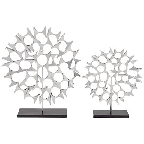 Lezusa Decorative Silver Metal Sculpture Set of 2