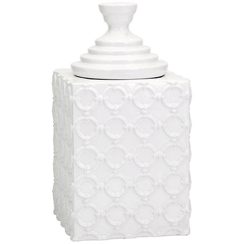 "Sullivan 14 1/2"" High Creamy White Ceramic Canister"