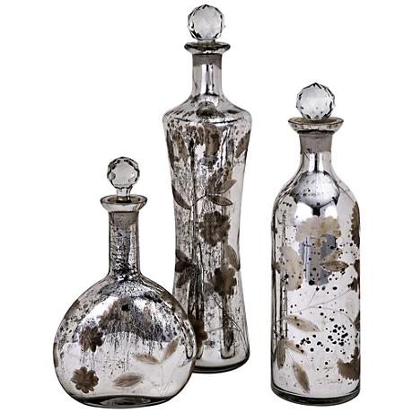 Madison Etched Mercury Glass Lidded 3-Piece Bottles Set