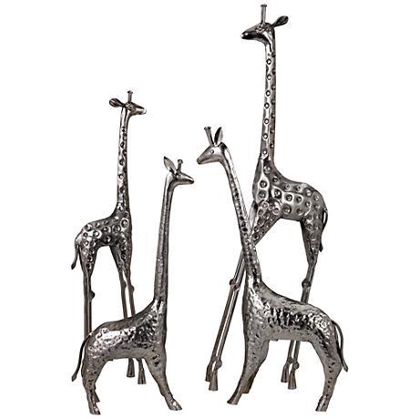 Safari Giraffe Herd Texture Nickel 4-Piece Statues Set