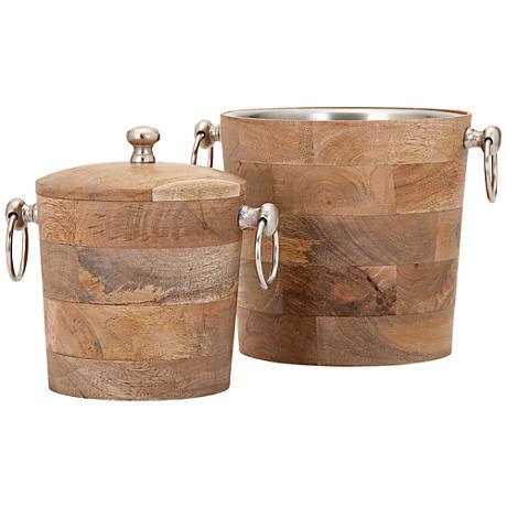 Makana Mango Wood 2-Piece Bar Buckets Set