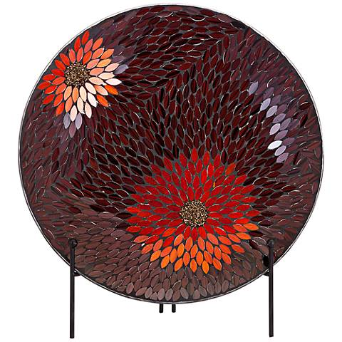 Autumn Flower Mosaic Charger with Metal Stand
