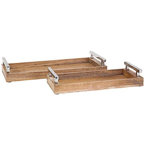 Marnie Rectangular Mango Wood 2-Piece Trays Set