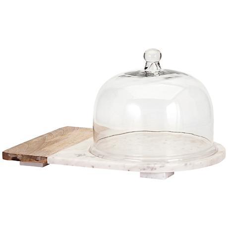Lyna White Marble and Mango Wood Cheese Dome