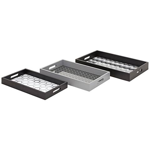 Essentials Jazz Black, White and Gray 3-Piece Trays Set
