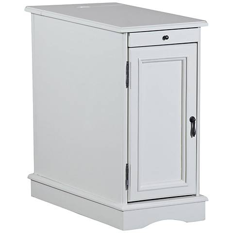 Butler White USB Charger High-Tech Flip-Top Accent Table