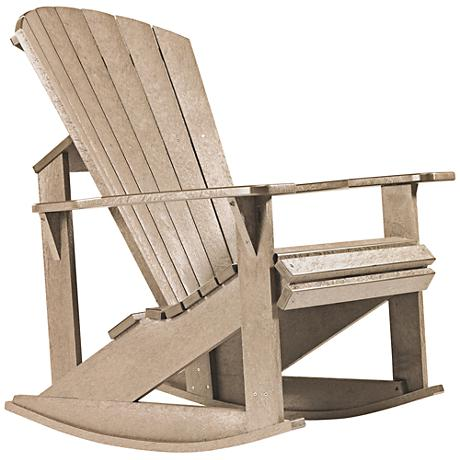 Generations Tan Outdoor Adirondack Rocking Chair
