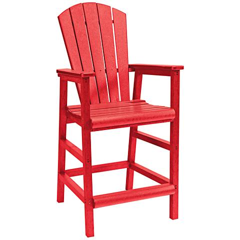 Generations Red Outdoor Adirondack Pub Height Armchair