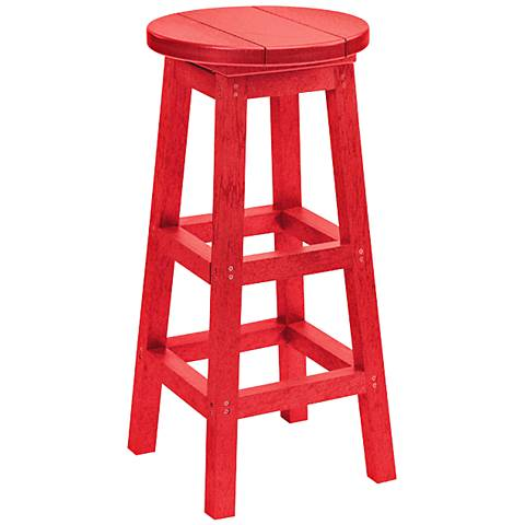 "Generations Red 30"" Backless Outdoor Barstool"