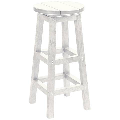 "Generations White 30"" Backless Outdoor Swivel Barstool"