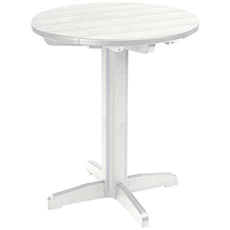 Generations White Round Outdoor Pub Height Pedestal Table