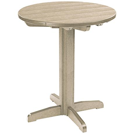 Generations Tan Round Outdoor Pub Height Pedestal Table