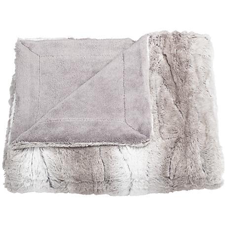 Linn Gray Faux Fur Throw Blanket