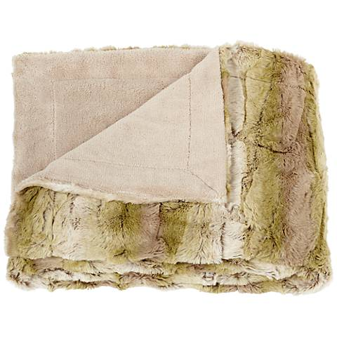 Linn Natural and Green Faux Fur Throw Blanket