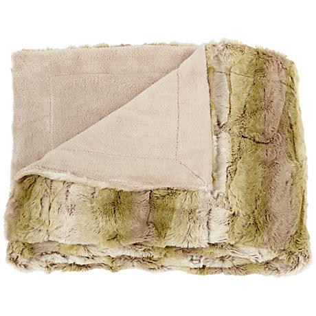 Linn Natural and Green Faux Fur Throw Blanket