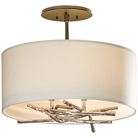 "Hubbardton Forge Brindille 15""W Flax Drum Ceiling Light"