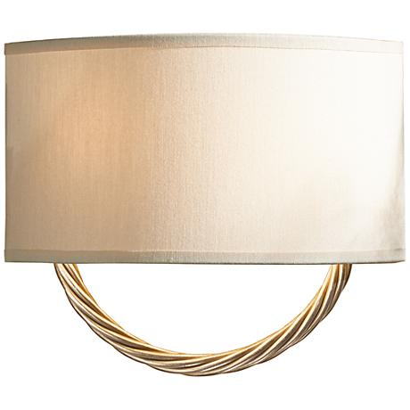 """Hubbardton Forge Cavo Gold 8 3/4""""H Flax Shade Wall Sconce"""