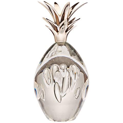 "Diamondhead 8"" High Silver Stem Glass Pineapple Accent"