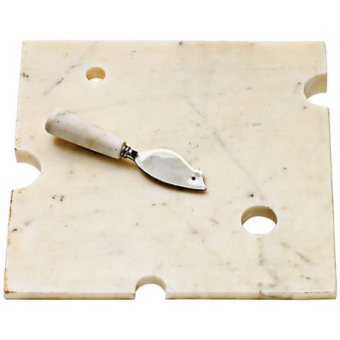 Hunk Of Swiss Marble Cheeseboard and Cheese Knife Set