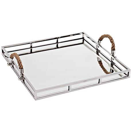Squire Large Square Stainless Steel Mirror Serving Tray