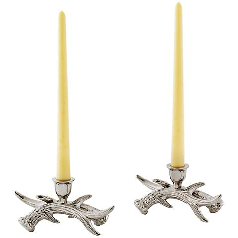 Stag Antler Polished Nickel Taper Candle Holder Set of 2