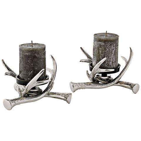 Deer Antler Polished Nickel Pillar Candle Holder Set of 2