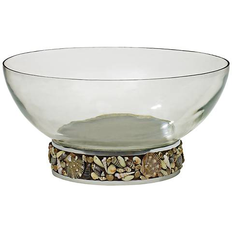 "Seashore 14 1/2"" Wide Clear Glass Nickel Shell Base Bowl"