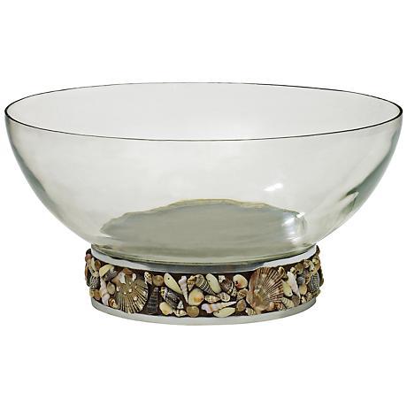 "Seashore 14 1/2"" Wide Clear Glass Nickel Shell Base Bowl"