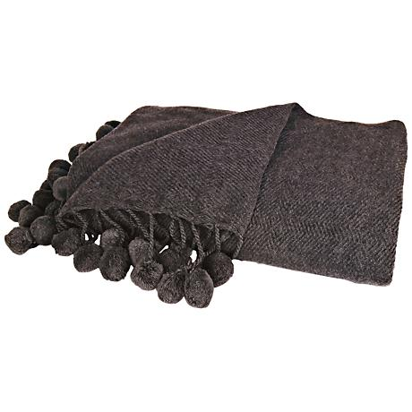 Pom Pom Dark Gray Woven Wool Accent Throw Blanket
