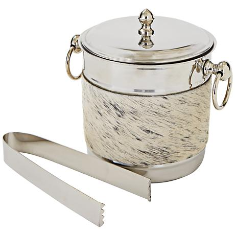 Pelliccia Natural Hide Stainless Ice Bucket with Tongs