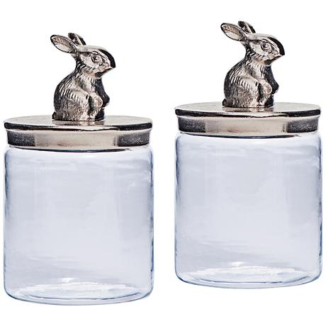 Cadburry Brushed Nickel Bunny Clear Glass Jar Set of 2