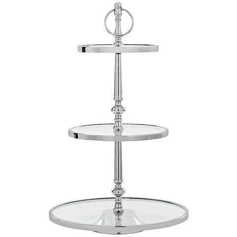 "Langer Polished Nickel Clear Glass 22""H 3-Tier Cake Stand"
