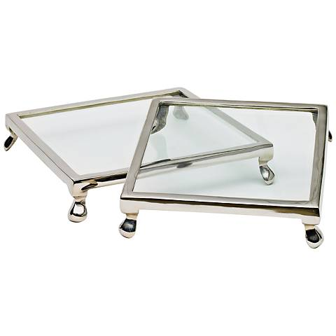 "Glass Trivet Polished Nickel 10"" Square Cake Stand Set of 2"