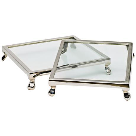 "Glass Trivet 10"" Square Polished Nickel Cake Stand Set of 2"