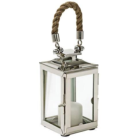 Overboard Lantern Polished Brass Pillar Candle Holder