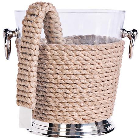 Coastal Brass Nautical Roping Ice Bucket with Tongs