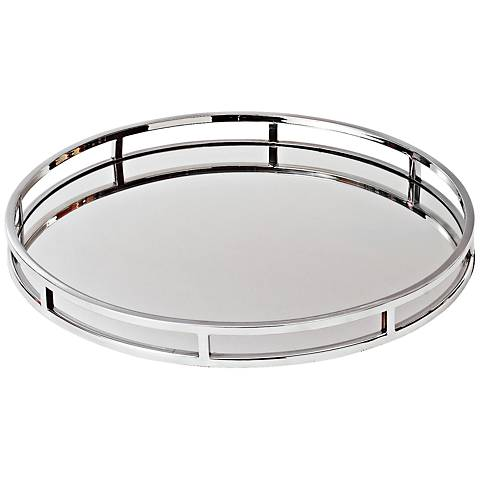 Marion Large Round Stainless Steel Mirror Serving Tray