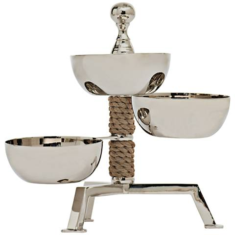 Spinning Polished Nickel 3-Bowl Rotating Food Tower