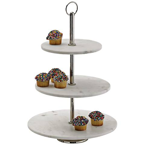 """Three Sweet Round White Marble 17"""" High 3-Tier Bakery Stand"""