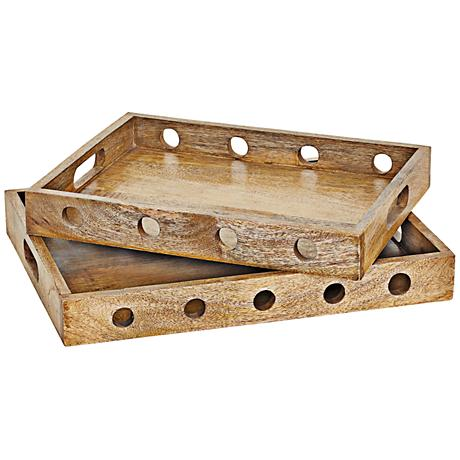 Sorriso Vintage Weathered Oak Storage Tray Set of 2