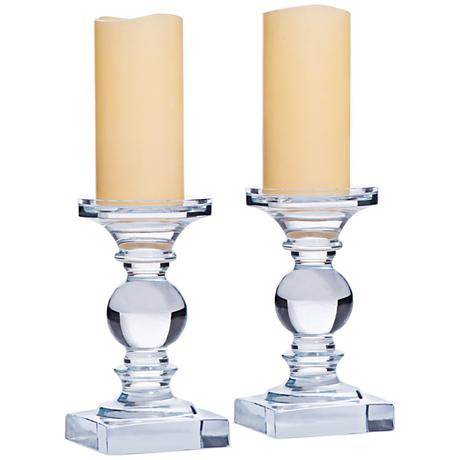 Monroe Traditional Cool Glass Pillar Candle Holder Set of 2