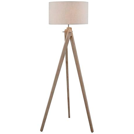 Lite Source Wolcott White Wash Wood Tripod Floor Lamp