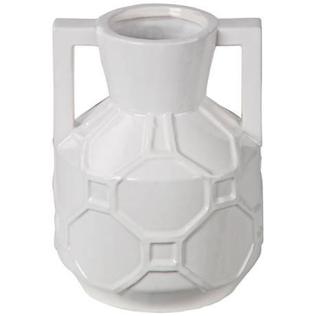 "Hex Appeal 9 1/2"" High White Ceramic Jar Vase"