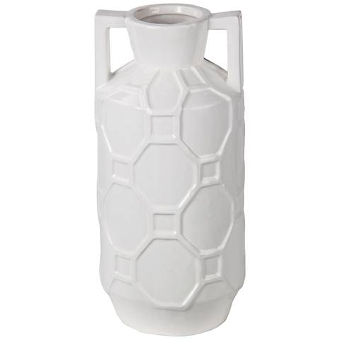 "Hex Appeal 14 1/2"" High White Ceramic Jar Vase"