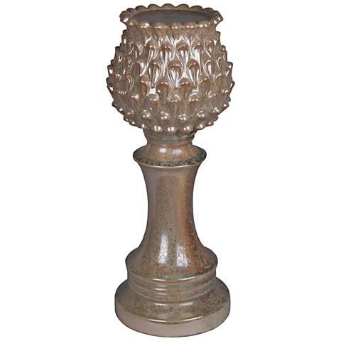 "Horse Chestnut 12"" High Pedestal Pillar Candle Holder"