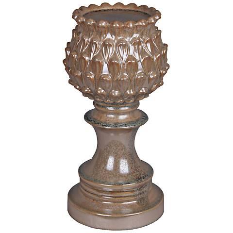"Horse Chestnut 15 1/2"" High Pedestal Pillar Candle Holder"