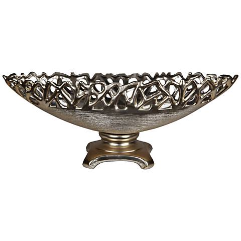 """Abstract Fret 20"""" Wide Oval Silver Ceramic Bowl on Stand"""