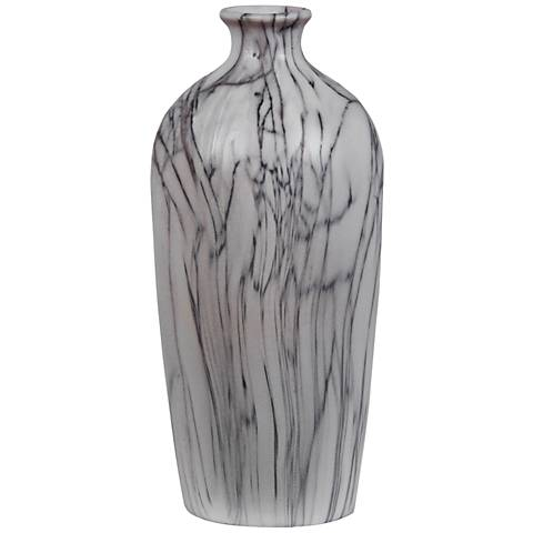 "Cairn 12"" High Gray Vein Classic White Marble Jug Vase"