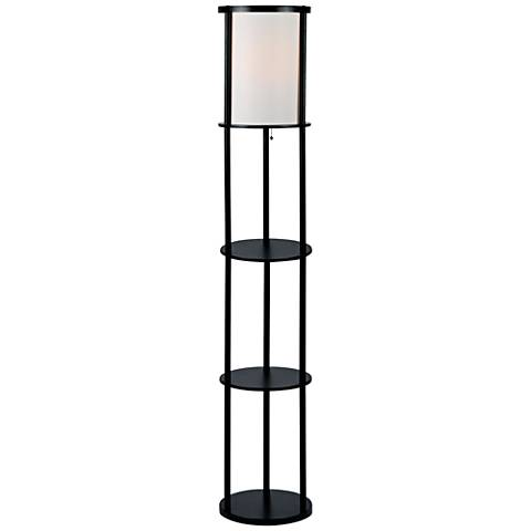 Lite Source Laina Black 3-Tier Shelf Floor Lamp