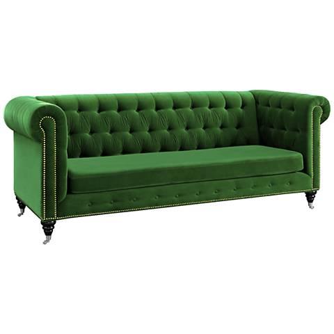 """Jolin Green Velvet 89 3/4"""" Wide Button Tufted Sofa"""